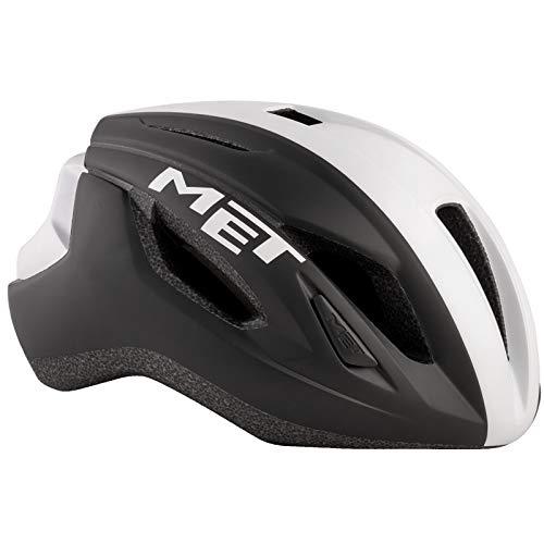 MET Strale Fahrrad Helm Rennrad Komfort Style MBT Road Bike Belüftet Rad Sport Inmould, 570014, Farbe Schwarz Weiß, Größe M