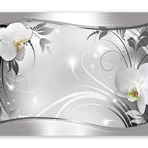 murando Fototapete Blumen 300x210 cm Vlies Tapeten Wandtapete XXL Moderne Wanddeko Design Wand Dekoration Wohnzimmer Schlafzimmer Büro Flur weiß grau silber Orchidee Ornament Abstrakt b-A-0078-a-b