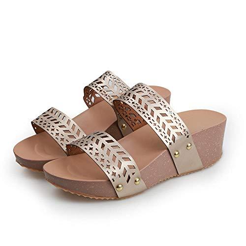 Cxypeng Sandalias Playa con Resbalón,Sandalias de cuña de Verano Huecas de Alta Gama para Mujer, Zapatillas de Plataforma de tacón Alto-Gold_36,Zapatillas de Ducha para Mujer