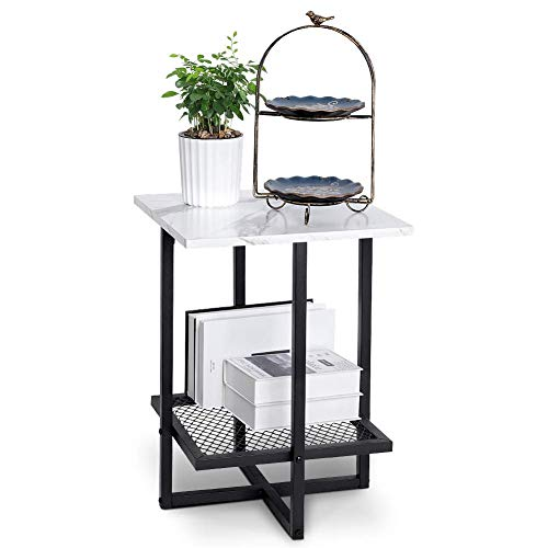 Modern Side Table, 2 Tier Faux Marble End Table Accent Table Nightstand Space Saving Bedside Table Small Coffee Table Metal Frame for Home Living Room Bedroom Office - White