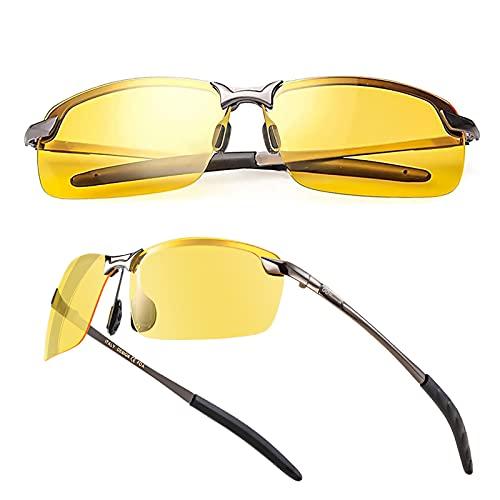 Night Driving Glasses / Polarized Sports Night Vision Glasses - Anti glare | UV 400 Protection | Night Driving | Fishing | Outdoor Sport | Unisex Eyewear… (Triangle Case)