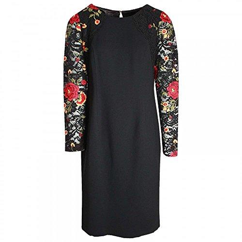 Michaela Louisa Lace Flower Detail Shift Dress 18 Black Multi
