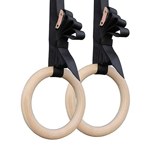 MMZB Wood Gymnastics Rings, Exercise Ring with Adjustable Cam Buckle Straps, Non-Slip Training, for Home Gym Full Body Workout, Pull Ups Dips