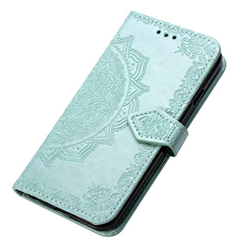 HAOYE Hülle für Alcatel 3V 2019 Hülle, Mandala Geprägtem PU Leder Magnetische Filp Handyhülle mit Kartensteckplätzen/Standfunktion, [Anti-Rutsch Abriebfest] Schutzhülle. Grün