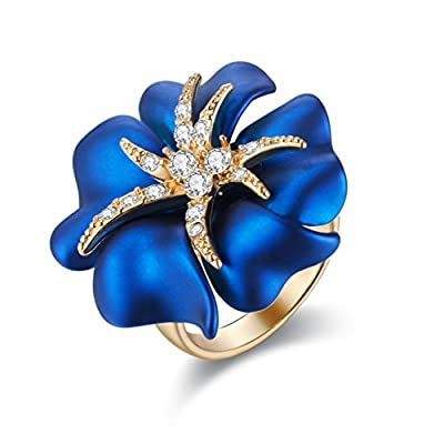 Carfeny Women Jewelry Fashion Cocktail Ring Gold Plated Big Rose Flower Rings for Women and Lady Girls