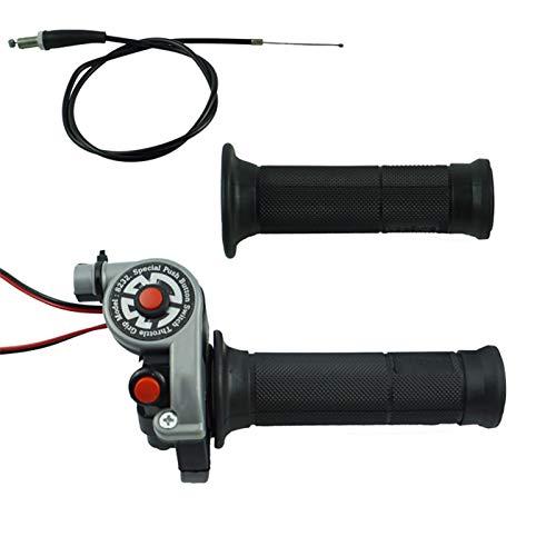 CBFYKU 1 Paire 22mm 7/8 '' Moto Twist Grip Throttle Grip avec câble Guidon accélérateur avec Moteur Bouton Marche/arrêt (Couleur : Noir)