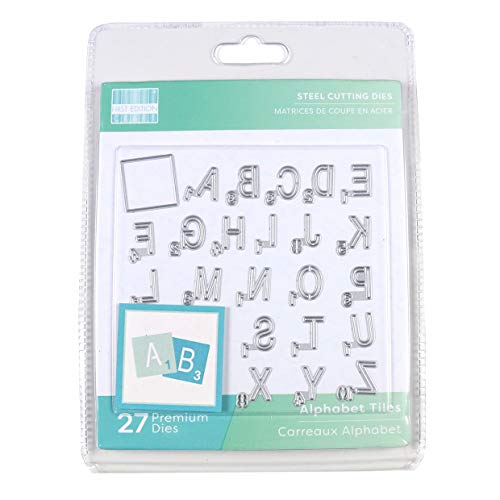 First Edition Dies-FEDIE295 Dies-Tile Alfabet(Staal, Magnetische Opslag, Karton & 2 mm Schuim) Crafting, Maak Perfect Papier, Gebruik met de meeste Die Snijmachines, Grijs, Een maat