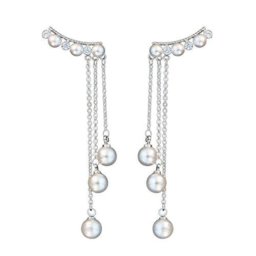 Myhouse Hand Make Pearl Long Earings Elegant Women Earings Jewelry Gift