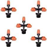 Metdek 5 aspersores de jardín en cruz, 5 boquillas ajustables en espray de 1/2 pulgada, cabezal de aspersor de jardín de 5 vías, boquilla, se utiliza para accesorios de riego de jardines y balnearios