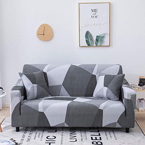 ASCV Blumensofabezug Elastischer Sofabezug für Wohnzimmer Modernes Ecksofa Schonbezug Sessel Couchbezug A19 4-Sitzer