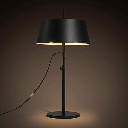 テーブルランプ 近代的なミニマリストブラック鍛造アイロンテーブルランプベッドルーム暖かいベッドサイドランプライトを読むLED光源 A+