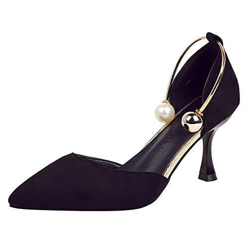 SuperSU-sandalen ➦Damenmode Elegant Spitzschuh Einfarbig Einfach Perle mit Schnalle High Heel Pumps Frauen Pfennigabsatz Schuhe Tanzschuhe Bankettschuhe Abiballschuhe Hochzeit