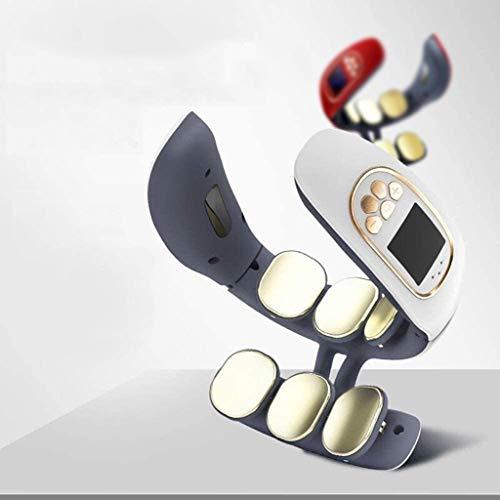 HE-XSHDTT Masseur Cervical à Six têtes, Pratique pour la Charge des Tissus Profonds, Protecteur Multifonctionnel d'épaule et de Cou, Appareil de Chauffage Intelligent pour Le Cou,Blanc