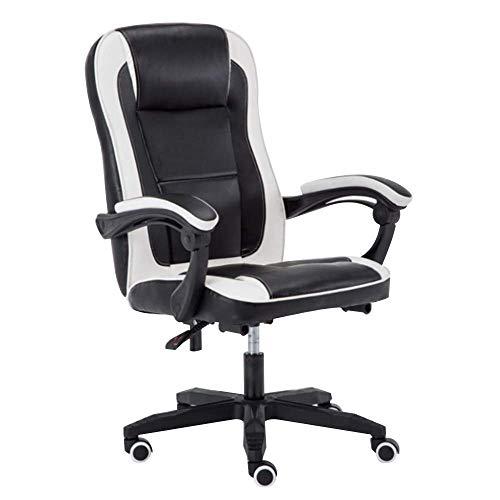 N/Z Daily Equipment Chair Computerstuhl Liegemassage Computerspielstuhl Höhenverstellbarer ergonomischer Rennbürostuhl mit Taillenmassagefunktion für das Studienbüro Schwarz Weiß