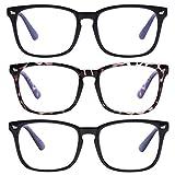 AIMADE Unisex Blue Light Blocking Glasses Blue Filter Computer Glasses (Anti Eye Eyestrain) Gaming Glasses for Women Man (3pc-Leopard-Matte Black-Bright Black)