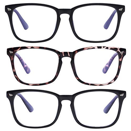 AIMADE Unisex Blue Light Blocking Glasses Blue Filter Computer Glasses (Anti Eye Eyestrain) Gaming Glasses for Women Man (3pc-Leopard-Matte Black-Bright Black)