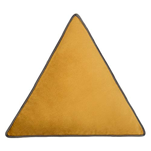 Cushoo Velvet Triangle Cushion in Mustard Yellow with Grey Piping   Decorative Scatter Pillow for Sofa or Bed   40cm. 16'