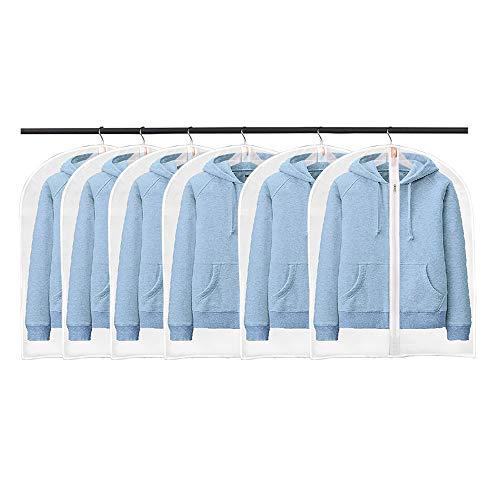 BangShou 6-pack klädöverdrag, dammsäkert genomskinligt plaggskydd, PEVA klänningar kappskyddsväskor, vattentät garderobsorganisatör tvättbar (60 x 80 cm)