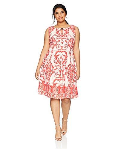 Gabby Skye Women's Plus Size Tribal Printed a-Line Dress, Ivory/Coral Print