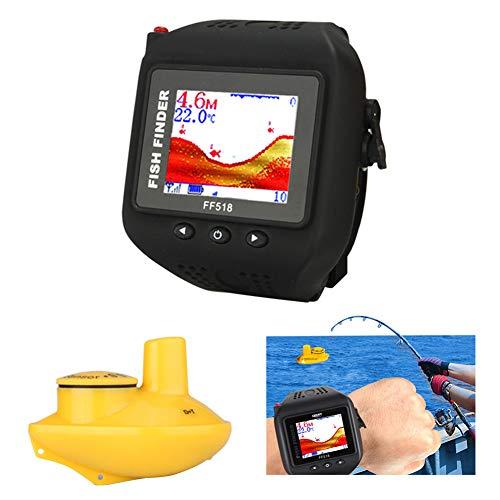 MSQL Buscador de Peces inalámbrico Tipo de Reloj Localizador de Profundidad de Peces, Pantalla a Color Smart Waterproof, Sensor de sonda Recargable