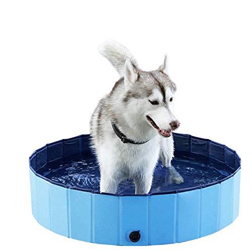 Havenfly 80x20cm Piscina per Cani Portatile, Vasca da Bagno Pieghevole per Cani Gatto Animali Domestici, PVC Materiale-Blu