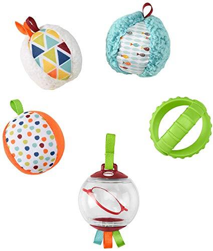 Fisher-Price - Bolitas Blandas Activity, 5 Bolas de Juguete para Estimulación de los Sentidos del Bebé Recién Nacido (Mattel FXC32)