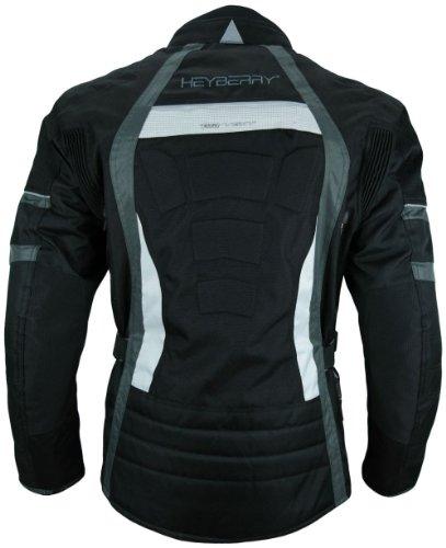 Heyberry Touren Motorrad Jacke Motorradjacke Textil schwarz grau Gr.L - 5