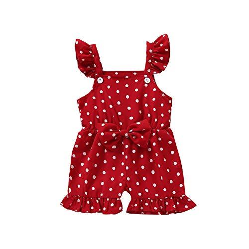 Ghemdilmn Mädchen Kinderkleidung Baby Ärmelloser Rüschen Blume Druck Jumpsuit Bowknot Dekoration Tupfen Overall Kleinkind Baby Mädchen Bodysuit Strampler
