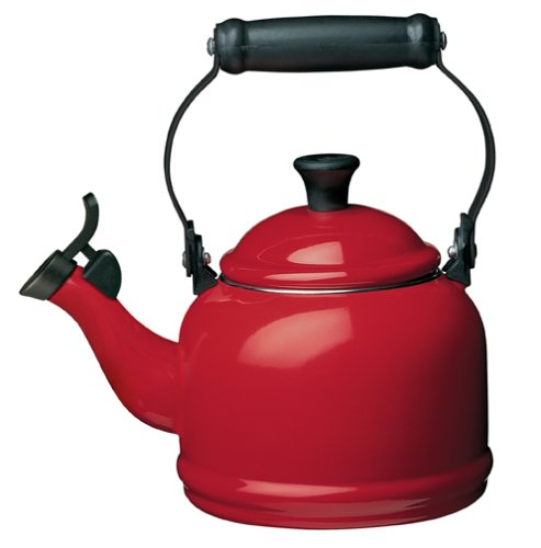 Le Creuset Enamel On Steel Demi Tea Kettle, 1.25 qt., Cerise