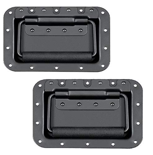 MIYAKO USA Set of 2 Spring Loaded Speaker Cabinet Handles 5.5 x 3.9 inches with recessed Back Black Metal (1 Pair)