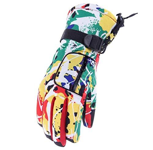 Barrageon Skihandschuhe, Damen Wintersport Fingerhandschuhe Winddicht Wasserdicht, Outdoor Sports Warm Handschuhe für Skifahren Snowboarden Schneebälle-Spiel oder Arbeitets im Schnee B1201 - Gelb
