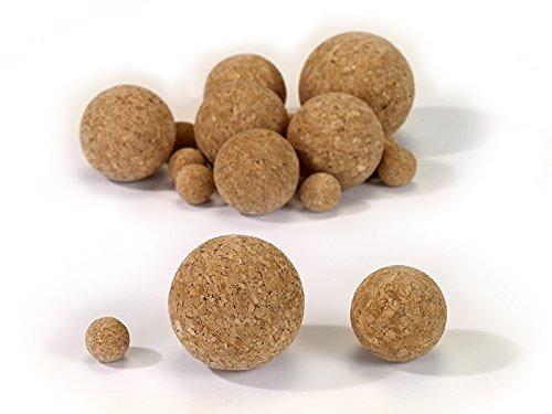 Korkkugel aus Presskork, in verschiedenen Größen, zum Basteln, Angeln, für Nautik, Tischkicker und vieles mehr,100% vegan (80)