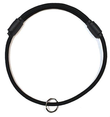 National Leash Thin Mountain Rope Dog ID Collar - Black -Medium Size - The Original Snickers Collar