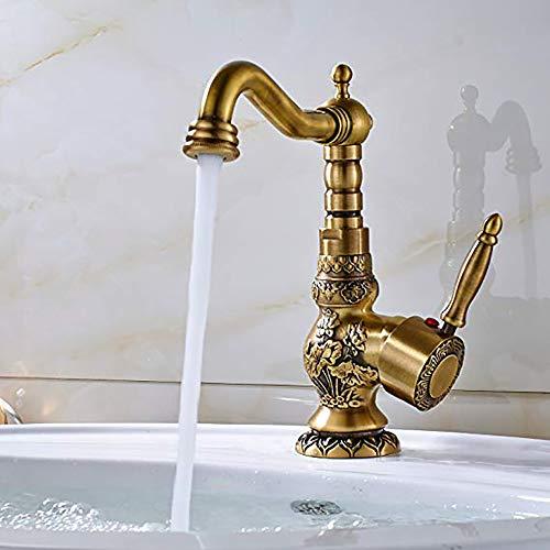 SLRMKK Bad Waschtischarmatur Antik Messing Einhand Auslauf Drehbar Waschtischplatte Montiert Geeignet Für Küche Bad