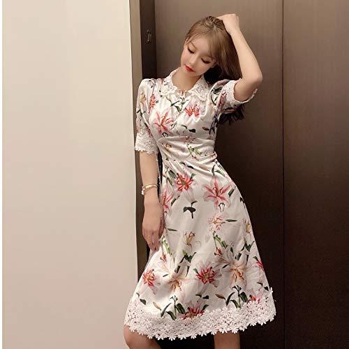 QUNLIANYI Sweet Lily Print Rosa Kleid Sommer Damen Kurzarm Spitze Patchwork Floral Printed Ladies Dress M