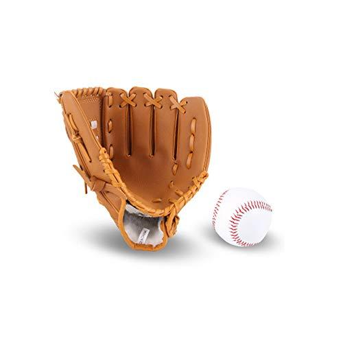 JunFeng Guante de béisbol para niños y adultos con 1 bola suave, guante de béisbol de cuero sintético, bateo de 10.5 y 12.5 pulgadas, kit de entrenamiento de receptor