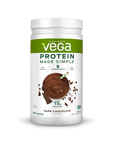 Vega Protein Made Simple, Plant Based Healthy and Protein Powder, Gluten Free, Dark Chocolate, 9.6 Ounce