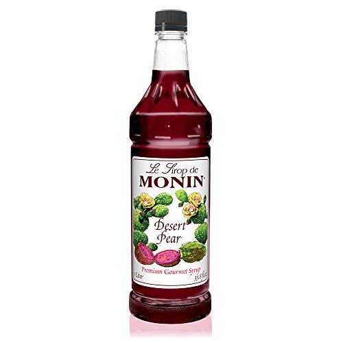 Monin - Desert Pear Syrup, Bold Flavor of Prickly Pear Cactus, Natural Flavors, Great for Iced Teas, Lemonades, Cocktails, Mocktails, and Sodas, Non-GMO, Gluten-Free (1 Liter)