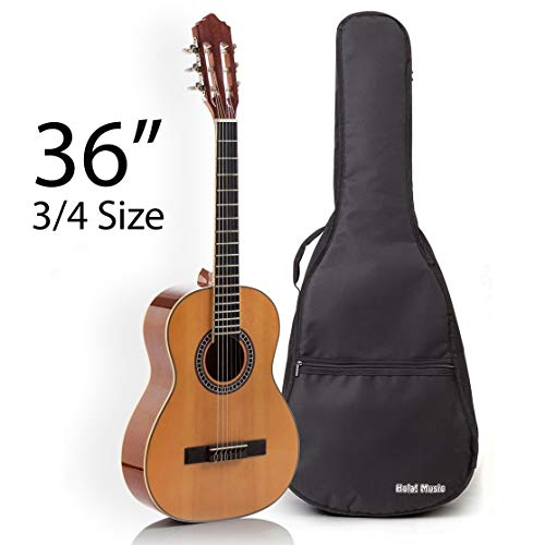 Classical Guitar with Soft Nylon Strings by Hola! Music, Junior 3/4 Size 36 Inch Model HG-36GLS, Natural Gloss...