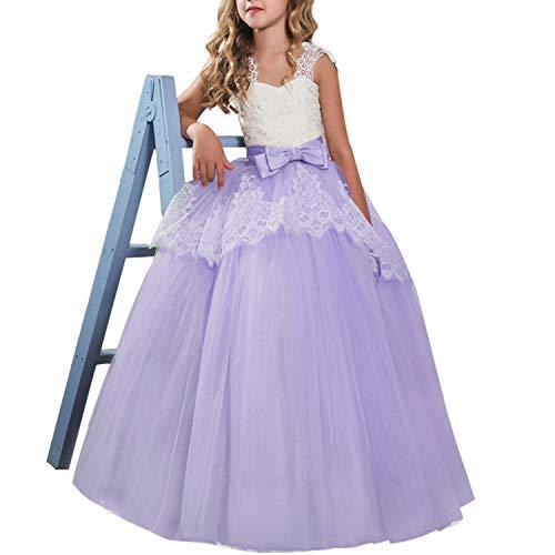 TTYAOVO Mädchen Blume Brautkleider Spitze Prinzessin Pageant Kleid Prom Ballkleid Größe (130) 386 Lila 6-7 Jahre