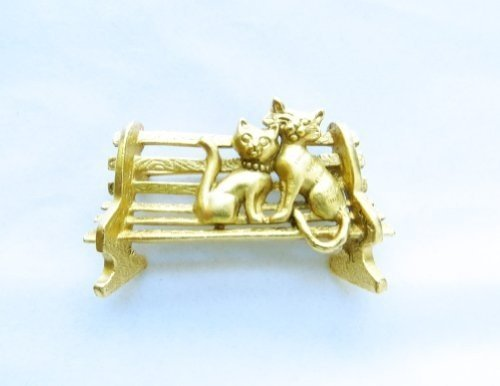 AJC Co. Gold - Plated Cats on a Park Bench Pin Brooch