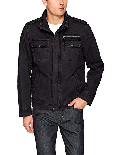 Levi's Men's Washed Cotton Two Pocket Sherpa Lined Military Jacket, Black, Large
