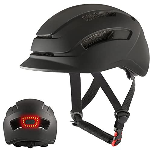 Casco de Bicicleta para Adultos Casco de Ciclismo con Luz USB Recargable para Viajeros Urbanos Scooter Eléctrico Certificado CE de Carretera de Montaña Ligero Ajustable para Hombres Mujeres(L)