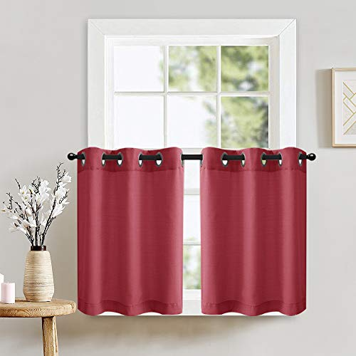 """Lazzzy Kitchen Tiers Curtains Privacy Semi Sheer Curtains Casual Weave Short Window Treatment Set Curtain Panels for Bathroom 1 Pair 36"""" Burgundy"""