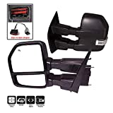 AERDM New Pair towing mirror Black Housing with Temperature sensor fit 2015-2018 Ford F150 Truck Towing Mirrors w/ Turn Signal, Auxiliary Lamp