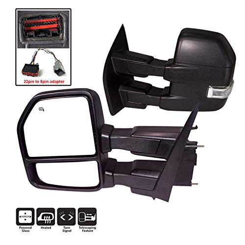 AERDM New towing mirror Black Housing with Temperature sensor fit 2015-2018 F150 Towing Mirrors w/Blind Spot mirror with Turn Signal, Puddle and Auxiliary Lamp