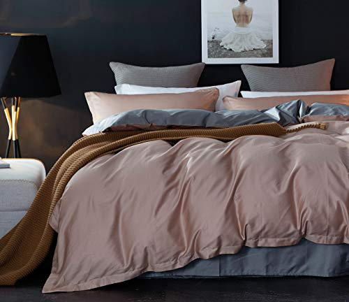Lanqinglv Bettwäsche 135x200cm Hell-Braun Anthrazit Wendebettwäsche Set Uni Unifarben Einzelbett Bettbezug Deckenbezug mit Reißverschluss und Kissenbezug 80 x 80 cm