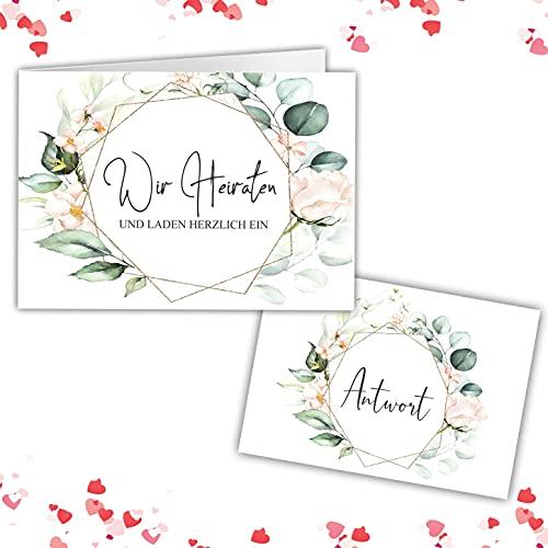 25 Einladungskarten + Antwortkarte mit Umschläge Einladung zur Hochzeit klassisch A6 Hochzeitseinladung Wir Heiraten Karten Save The Date eukalyptus