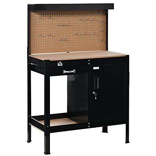 Établi d'atelier - établi métallique - plan de travail - panneau perforé, niche, tiroir, placard verrouillable - métal MDF noir