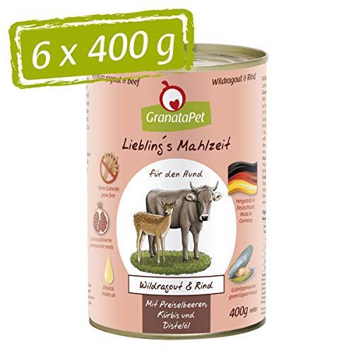 GranataPet Liebling's Essen Wildragout & bœuf Nourriture Humide pour Chien sans céréales ni Sucre 6 x 400 g